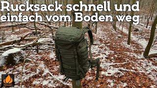 Rucksack schnell und einfach vom Boden weg | Bushcraft Basiswissen