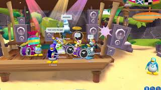 Playing drums at Club Penguin Island
