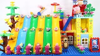 Peppa Pig Building House With Water Slide Toys For Kids - Lego Duplo House Creations Toys