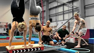 Gymnasts try 'Handstand Assault Course' {Worlds Hardest}