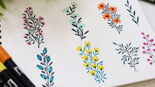 How To Draw/ Doodle Flowers & Leaves Using Pen   Brush Pen Floral Doodles   Easy Flower Drawing