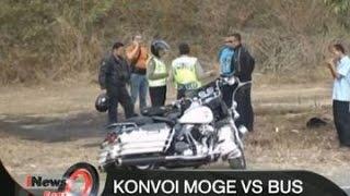 GAGAL SALIP Bus Vs Konvoi Moge Di Purworejo Pengendara Harley Davidson Terluka  INews Pagi 17/08