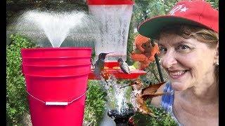 DIY WATER FOUNTAIN Bucket Solar Pump Garden Bird Bath Pond-Bathroom Makeover On A Budget