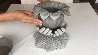 Ideas For Making Cement Pots From Gloves And Cloth /// Garden Decoration