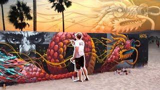 HUGE DRAGON MURAL at VENICE BEACH
