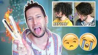 WHY AM I LIKE THIS?! Curly to Straight Hair (Gone Wrong) | Kholo.pk