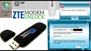 ZTE MF190 Modem Network Unlock Done Without Credit By Octoplus Suite