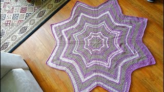 8 Point Star Crochet Afghan Pattern PDF - Link To Pattern And Tutorial In Video Description