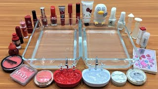 Mixing Makeup Into Clear Slime ! Red VS White Special Series Part 4 Satisfying Slime Videos