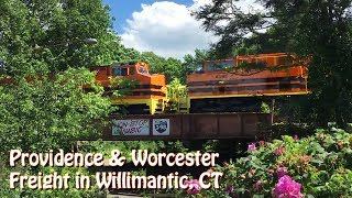 Providence & Worcester NR-4 in Willimantic, CT with SD70M-2 4302 and B40-8W 4007 in G&W Paint