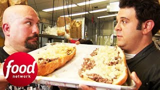 Adam Is First To Try Out Tony Luke's Ultimate Cheesesteak Challenge   Man v Food