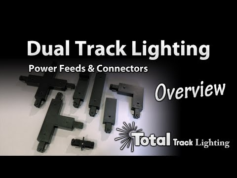 H style Dual Circuit Track Lighting Power Feed & Connector overview