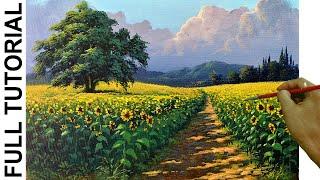 Acrylic Landscape Painting Tutorial | Sunflower Field