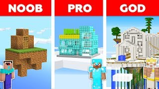 Minecraft NOOB vs PRO vs GOD : SKY SECRET BASE CHALLENGE in minecraft / Animation