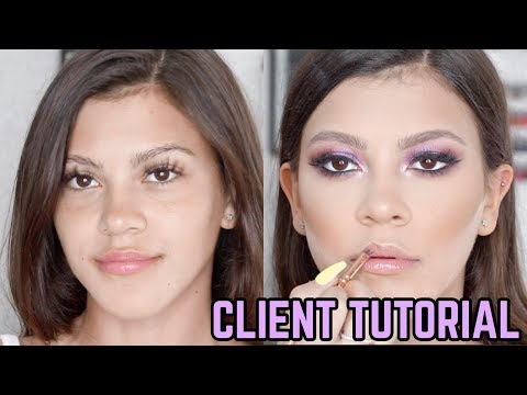 PURPLE CLIENT MAKEUP TUTORIAL 💜 ON TAMMY HEMBROWS LIL SIS STARLETTE 🦄JASMINE HAND