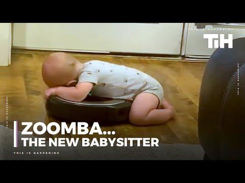 """סרטון של תינוק """"רוכב"""" על איירובוט"""