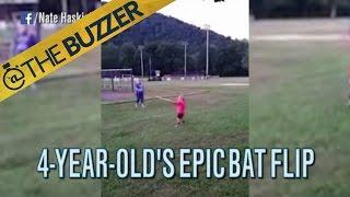 BAT FLIP! Four-year-old kid has a sweet swing