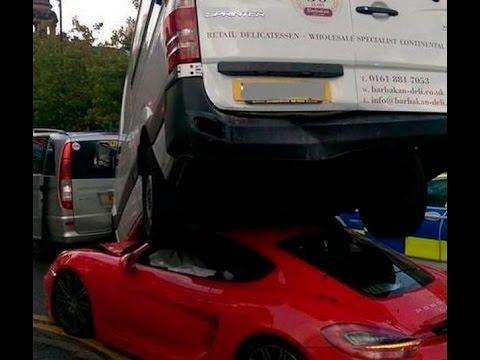Red Porsche left crushed underneath a van after road crash