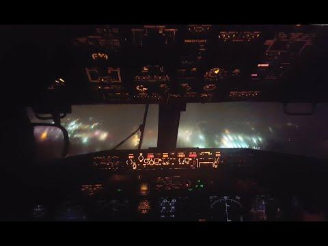 Stormy airplane landing