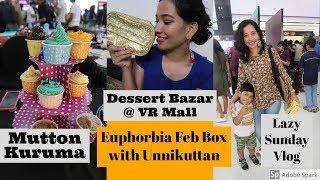 VLOG : Lazy Sunday I Dessert Bazar @VR Vlog I മട്ടൺ കുറുമ I Euphorbia Box Unboxing with Unnikuttan