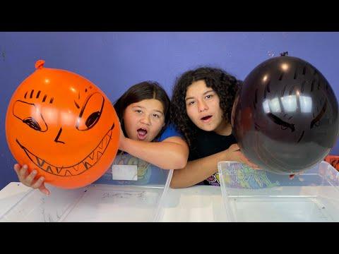 Making Slime With Balloons! Slime Balloon Tutorial Halloween Edition