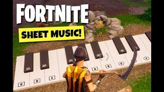 """Fortnite - Finding the """"PIANO"""" , a stand with Sheet Music in Pleasant Park Location"""