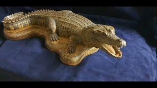 заканчиваю работу над фигуркой крокодила, в этом видео делаю подставку для