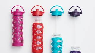 Lifefactory Glass Water Bottle with Axis Straw Cap and Silicone Sleeve