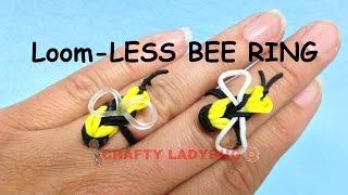 NEW Rainbow Loom-LESS BEE RING EASY Charm Tutorials By Crafty Ladybug /How To DIY