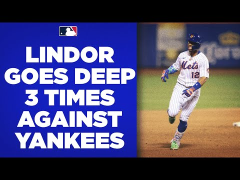 Subway Series curtain call! Francisco Lindor goes deep THREE times against the Yankees!