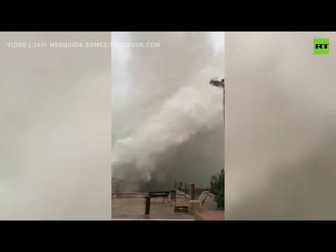 Giant crushing waves hit Spain as Storm Gloria rages on