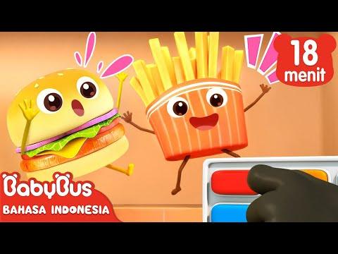 Hamburger dan Kentang Goreng Lezat   Lagu Makanan Enak   BabyBus Bahasa Indonesia