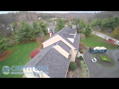 Aerial view of a recent roof replacement in Newtown Square, PA!This roof features the Certainteed Landmark TL Shingle in Moire Black.