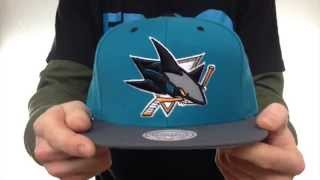Sharks '3M XL-LOGO SNAPBACK' Teal-Grey Hat by Mitchell & Ness