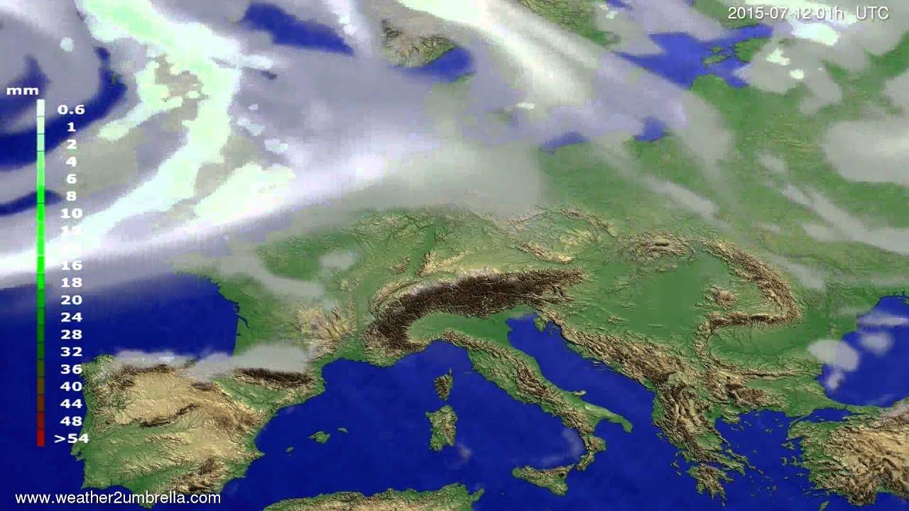 Precipitation forecast Europe 2015-07-09