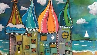 Boho Gypsy Beach Cottages Painting - Mixed Media