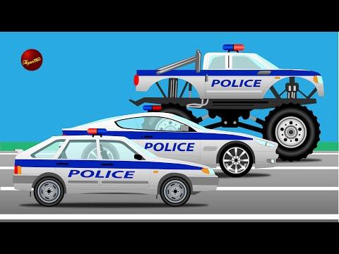 Полиция, монстр траки и гонки. Мультики про машинки.