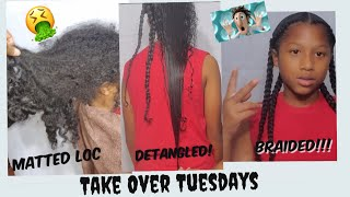 DETANGLING DRY MATTED LOC NATURAL HAIR | BOYS BRAIDS STYLE | EXTREMELY LONG HAIR BOY