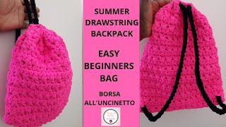 TUTORIAL: HOW TO CROCHET A DRAWSTRING BACKPACK | EASY FOR BEGINNERS | BORSA ALL'UNCINETTO