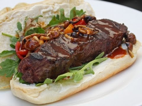 """Steakage"" Ultimate Steak Sandwich for the Super Bowl Tailgate"