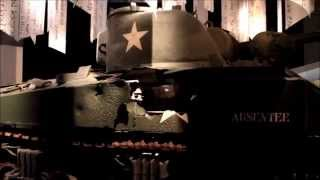 Damaged M4 Sherman tank on display at the Bastogne War Museum, Belgium.