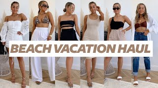 BEACH VACATION HAUL! Swimsuits, Shorts, Coverups, Dresses | Julia Havens