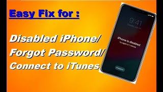 how to fix a disabled iPhone 5 5s 6 6s 6plus 6s plus- connect to iTunes- Forgotten Password