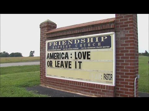 "A church sign in Virginia is drawing attention over a message that says: ""America: Love or Leave It."" (July 18)"