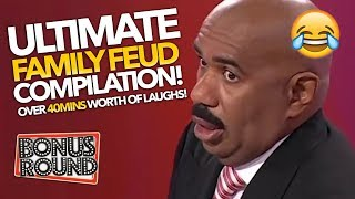 TRY NOT TO LAUGH! ULTIMATE 40 Minute Funny Family Feud Steve Harvey Compilation!