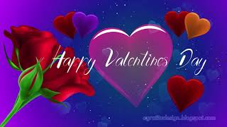 Romantic Happy Valentines Day Animation Roses And Hearts With Text And Quotes