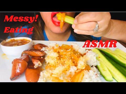 ASMR Eating Sausage, Rice, Cucumber and Tasha's Butter Sauce ( NO TALKING) MUKBANG