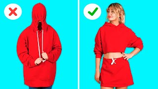 CLOTHING HACKS THAT WON'T COST YOU A SINGLE PENNY! || DIY Clothes Projects by 123 GO! GOLD