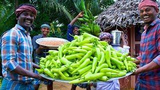 MIRCHI & RAW BANANA BAJJI | 1000 Bajji Making in Village | Milagai Vazhakkai Bajji | Rainy Snacks