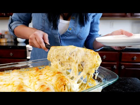 Baked Burritos Smothered w/ Creamy Sauce | Wet Burrito Recipe